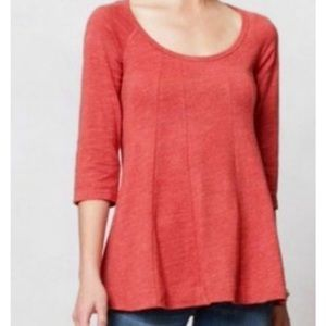 Deletta Anthropologie Seamed Swing Top Coral L EUC